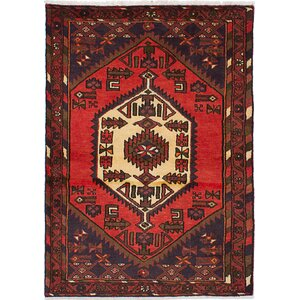 Lesley Hand-Knotted Wool Red Area Rug