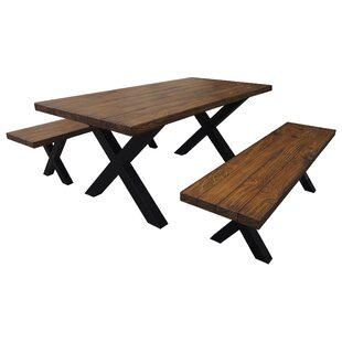 Rooker Indoor 3 Piece Solid Wood Dining Set
