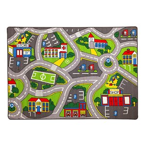 Paradise Street Map Gray Kids Rug