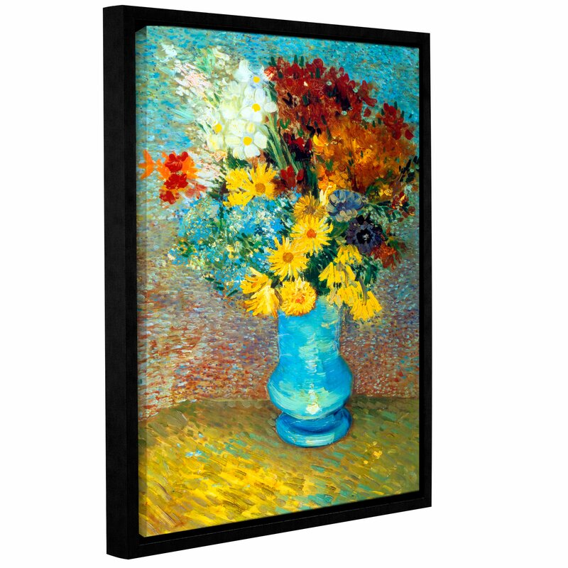 Artwall Flowers In Blue Vase By Vincent Van Gogh Framed Painting