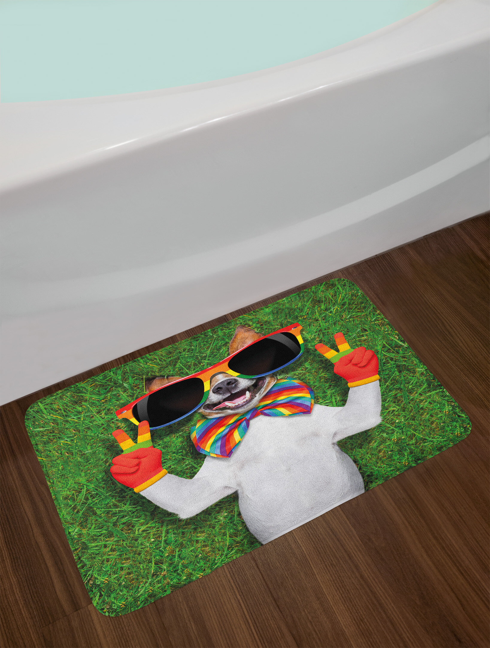East Urban Home Pride Funny Face Gay Dog Lying On Grass