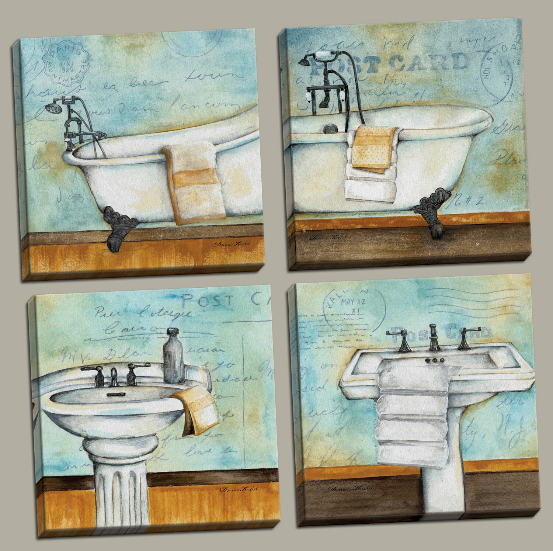 Red Barrel Studio \'Vintage Bathtub and Sink Bathroom\' Graphic Art ...