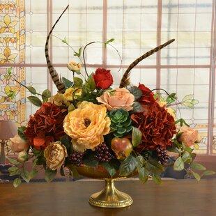 Mixed artificial flowers youll love wayfair silk floral hydrangeas centerpiece in vase mightylinksfo