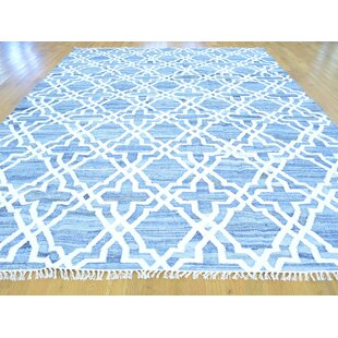 Best Price One-of-a-Kind Flounder Handmade Kilim 9' x 12'3 Wool Blue/White Area Rug By Isabelline