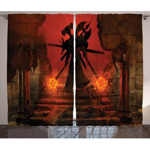 Crayton Horror Barbarian Evil Demonic Character Fictional Video Game Person Scary Artsy Graphic Print Text Semi Sheer Rod Pocket Curtain Panels