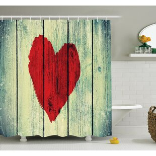 Love Romantic Rustic Wooden Shower Curtain Set