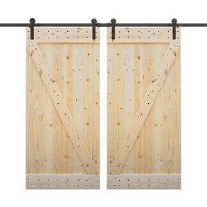 Z Bar Primed Solid Wood Panelled Pine Slab Interior Barn Door (Set Of 2)