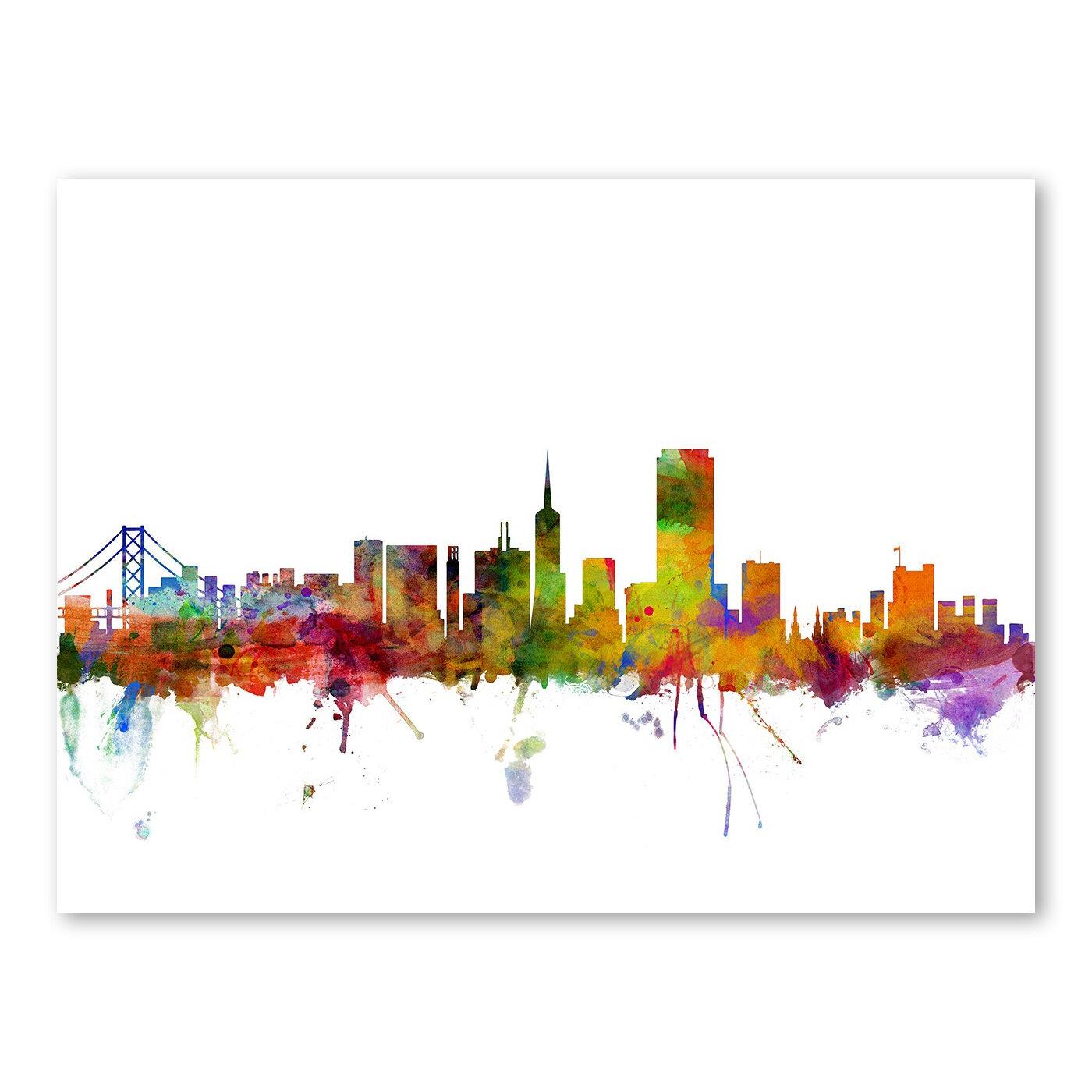 Americanflat san francisco city skyline wall mural wayfair for City skyline wall mural