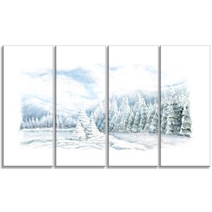 'Christmas Winter Happy Panorama' 4 Piece Painting Print on Wrapped Canvas Set