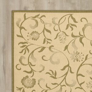Swirling Garden Cream / Green Area Rug