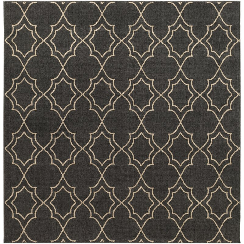 Alcott Hill Amato Power Loomed Black/Camel Indoor/Outdoor Area Rug, Size: Square 89