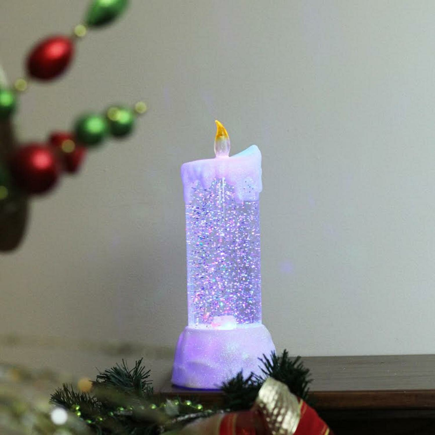 the holiday aisle led lighted dripping swirling glitter christmas decoration unscented pillar candle wayfair - Led Christmas Candles