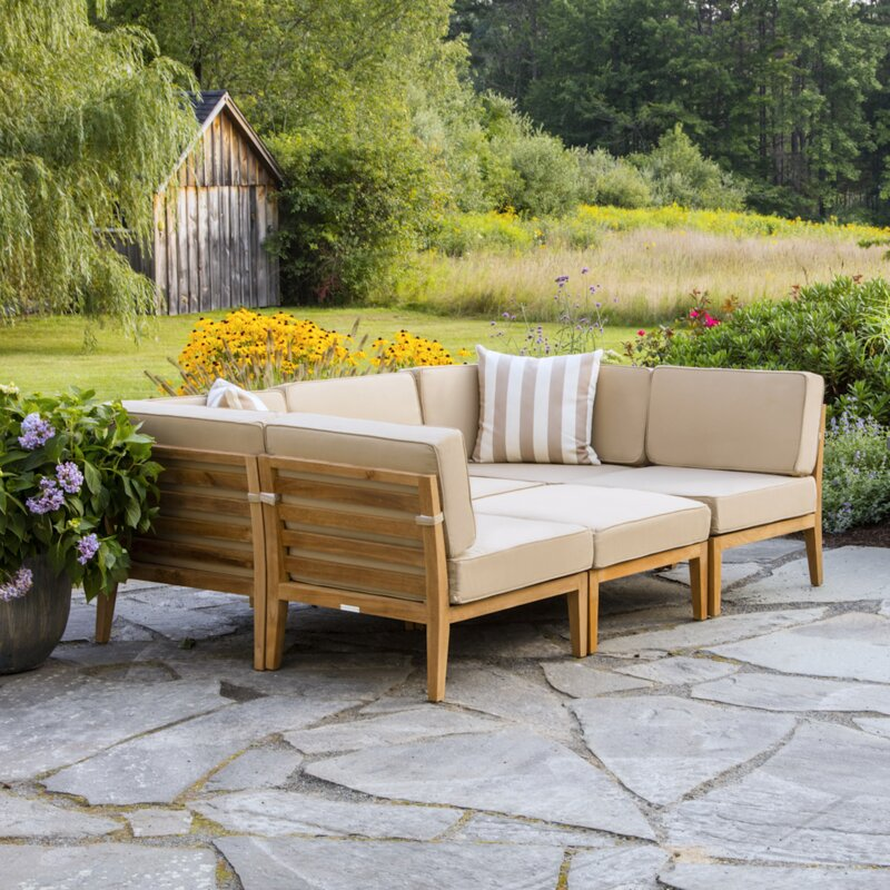 Bali Teak Patio Sectional With Cushions