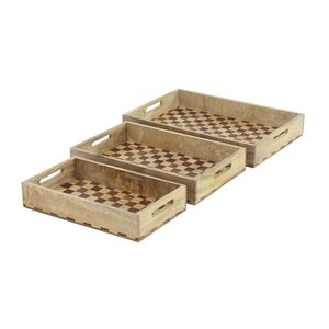Belclaire Modern Mango Wood Checker-Designed Rectangular Serving Tray