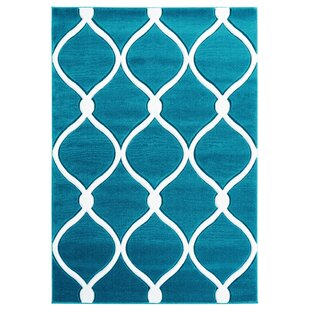 Fishback Turquoise/White Area Rug By Ebern Designs