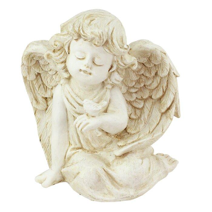 Sitting Cherub Angel With Bird Outdoor Patio Garden Statue