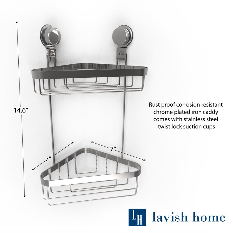 Rebrilliant Wall Mounted 2 Tier Corner Shower Caddy & Reviews | Wayfair