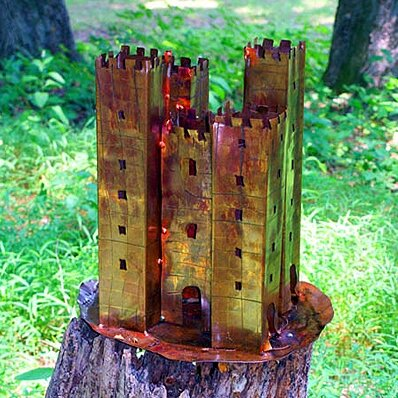 Castle Sculpture Copper Bird Feeder
