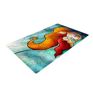 Mandie Manzano I Remember Love Mermaid Blue/Orange Area Rug