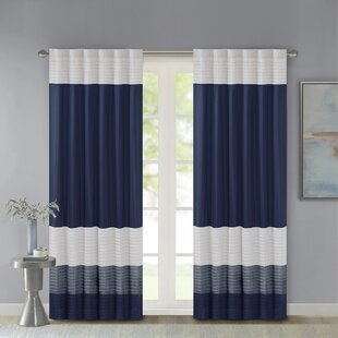 Navy White Striped Curtains Youll Love Wayfair