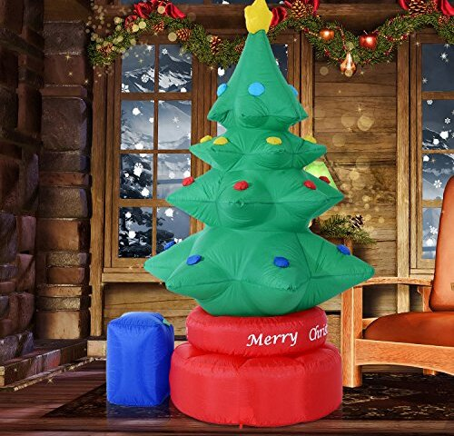 rotating animated christmas tree led lighted outdoor air blown inflatable