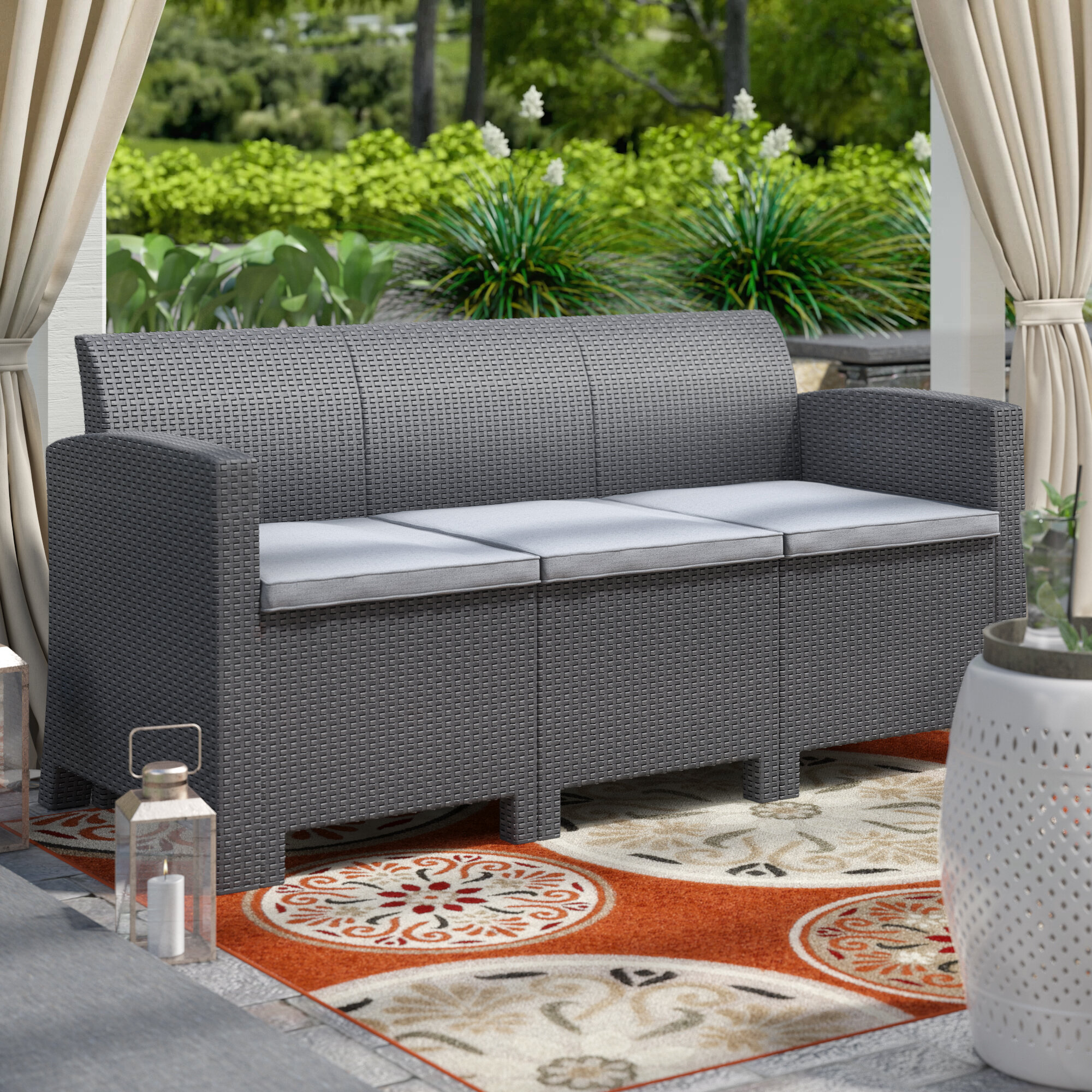Highland Dunes Bartonville Outdoor Patio Sofa With Cushions U0026 Reviews |  Wayfair
