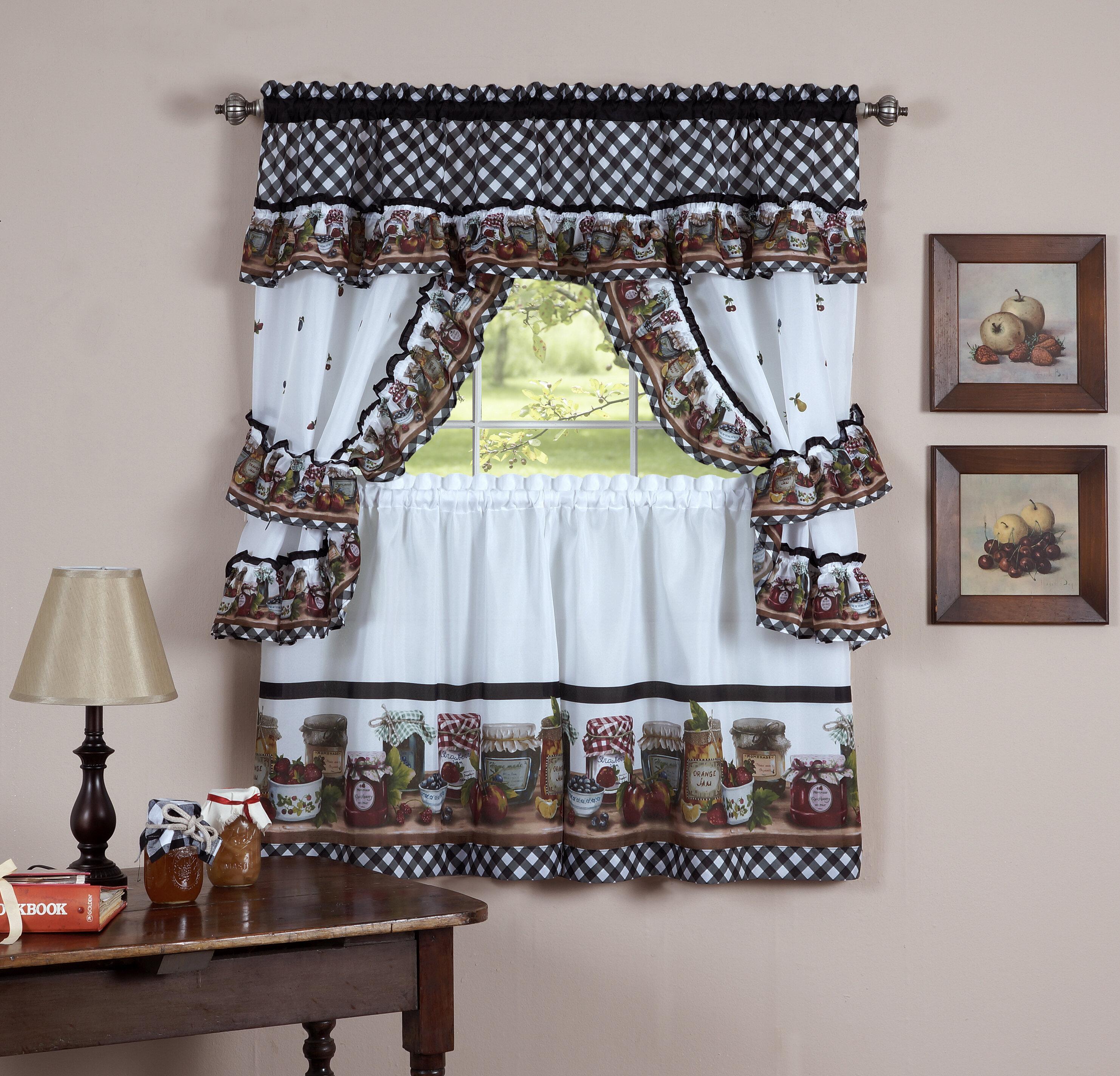 August Grove Guimauve Mason Jar Cottage Kitchen Window Treatment Set Reviews Wayfair