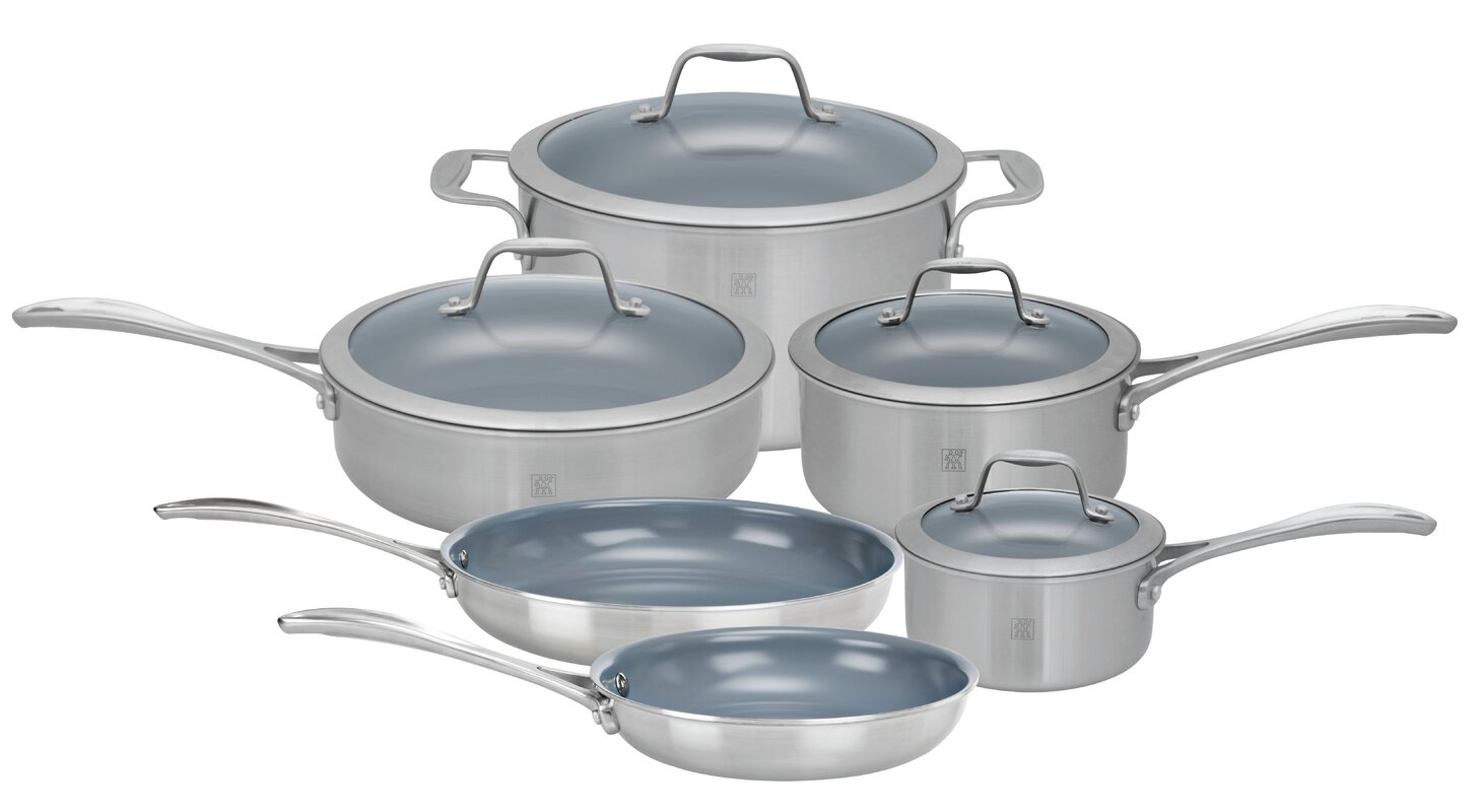 Zwilling JA Henckels Spirit 10 Piece 3 Ply Non-Stick Stainless ...