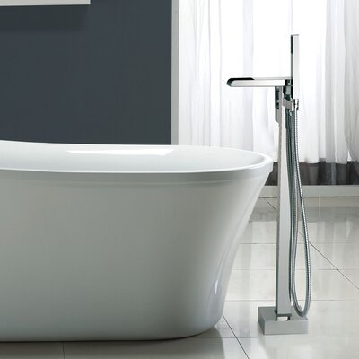 Dyconn Faucet Double Handle Floor Mount Tub Filler with Hand ...