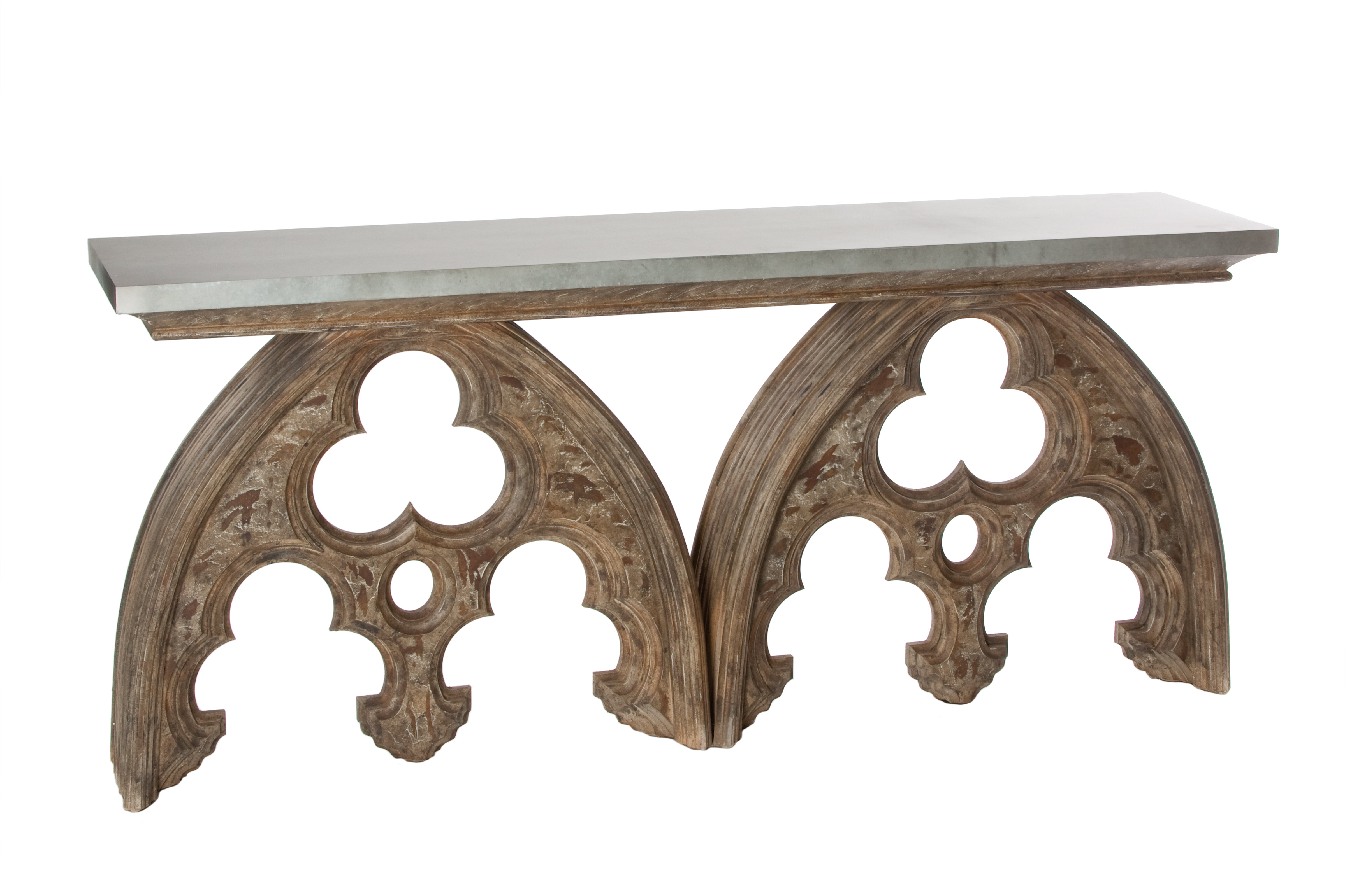 Charmant Aidan Gray Arched Cathedral Console Table With Tin Top | Wayfair