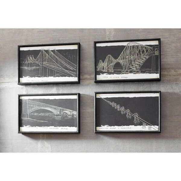 Cole grey blueprint 4 piece framed graphic art set reviews wayfair malvernweather Images
