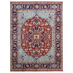 Ganley Serapi Hand-Woven Wool Blue/Red Area Rug