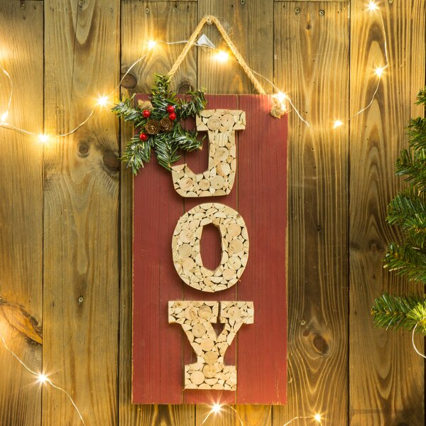 the holiday aisle traditional wooden joy sign wall dcor reviews wayfair