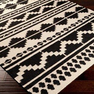 Carrizales Hand Woven Wool Black Grey Ikat Area Rug