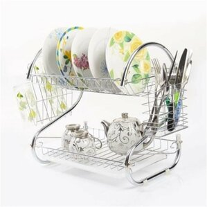 Modern Stainless Steel 2 Tier Drying Dish Rack And Draining Board