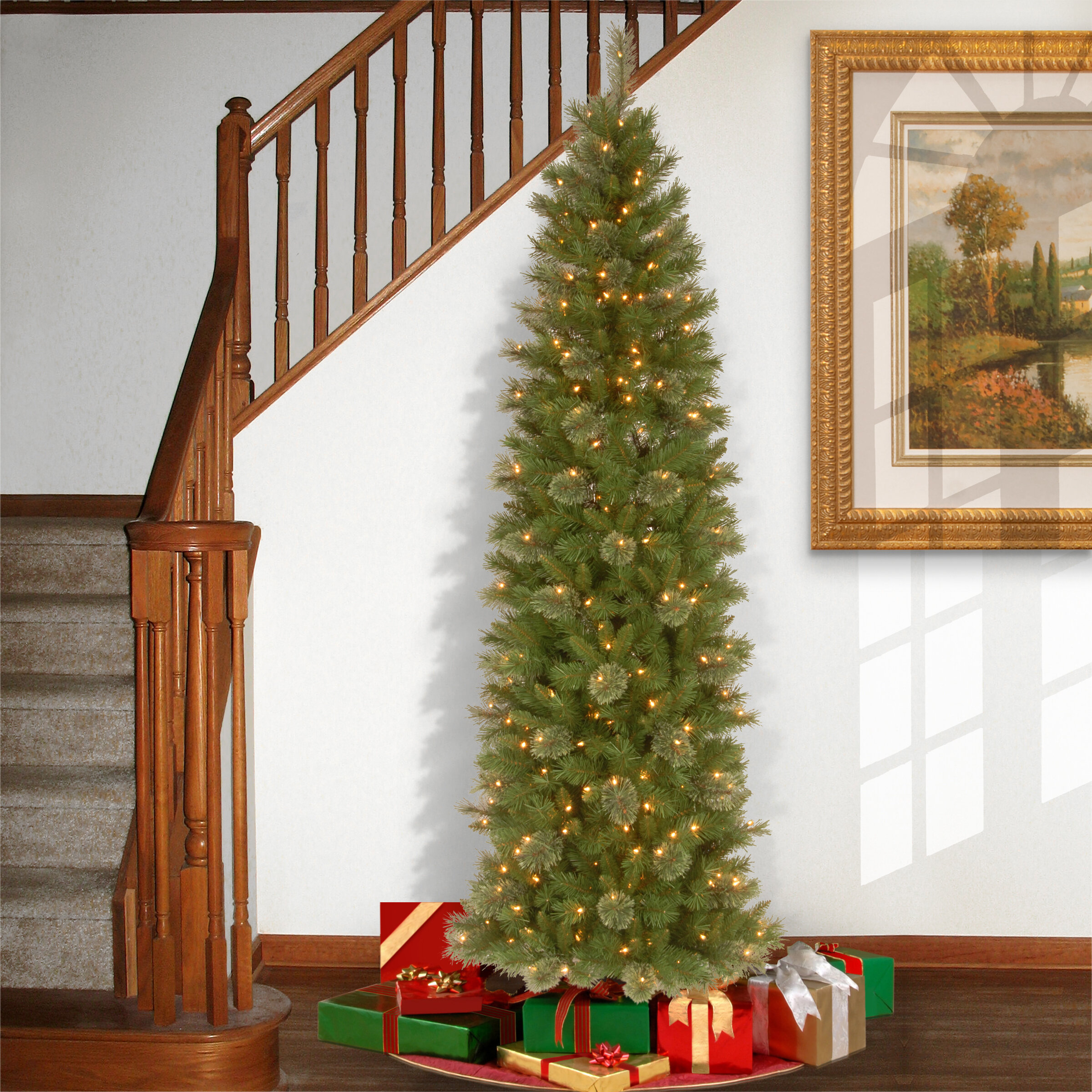 national tree co tacoma 76 green pencil pine artificial christmas tree with 350 clear lights and stand reviews wayfair
