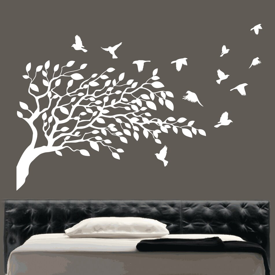 kult kanvas flying birds and tree wall sticker amp reviews tree with hanging bird cage wall sticker wallboss wall