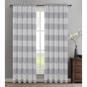 Nassau Striped Sheer Rod Pocket Curtain Panels (Set of 2)