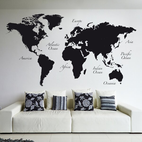 Map Of The World Decal.Wallpops World Map Wall Decal Reviews Wayfair