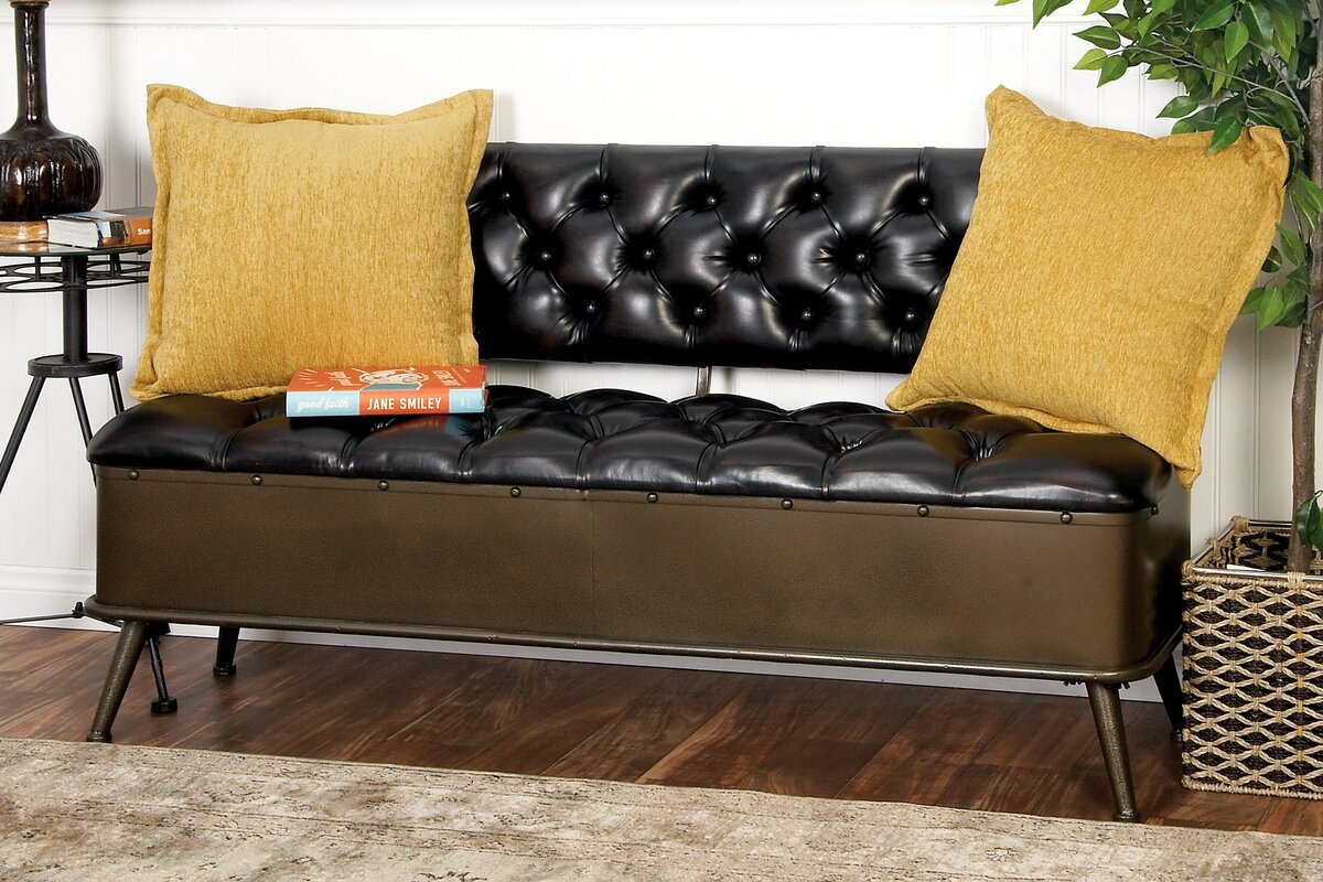 Metal And Faux Leather Storage Bench
