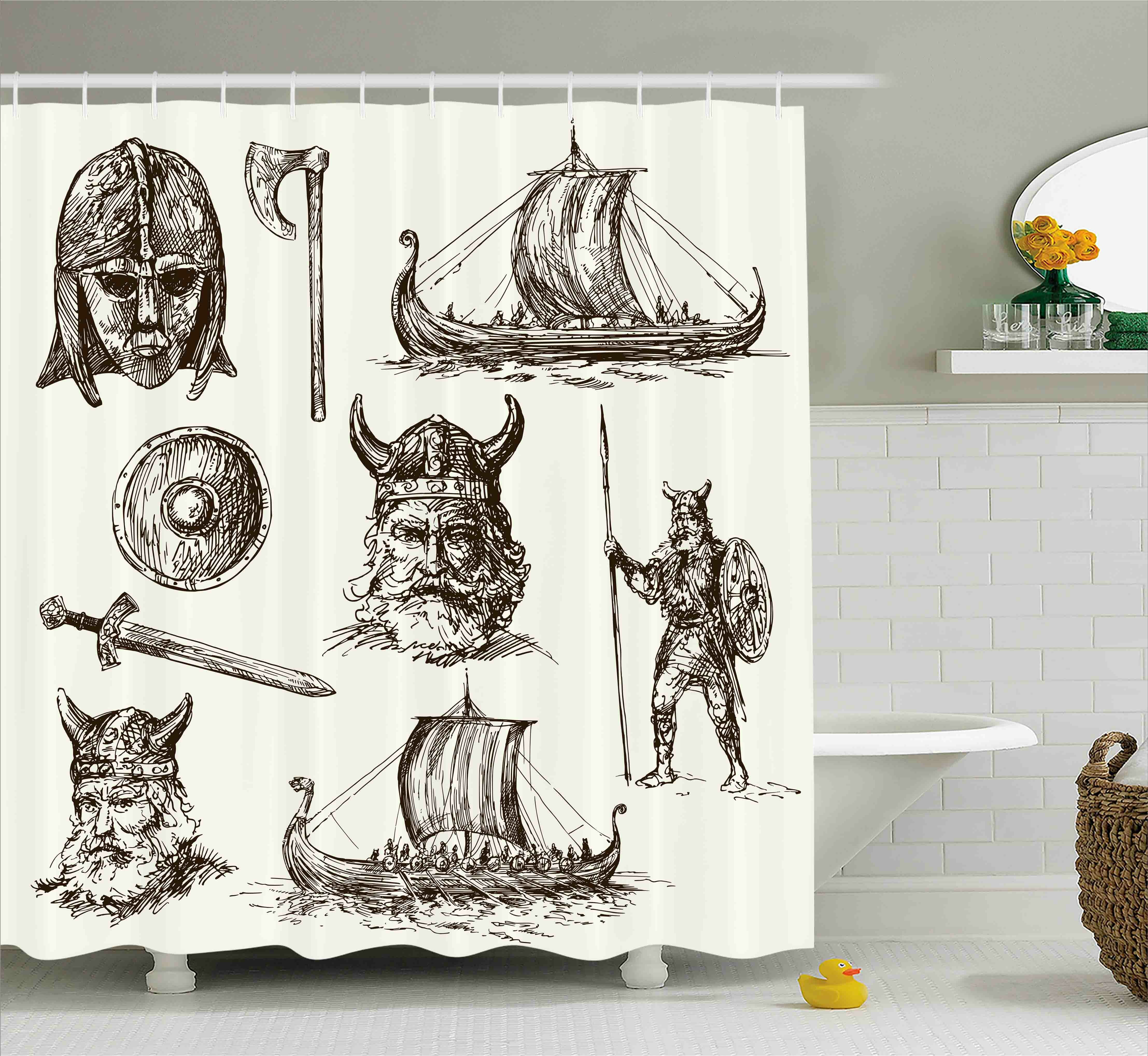 East Urban Home Viking Ancient War Characters Shower Curtain