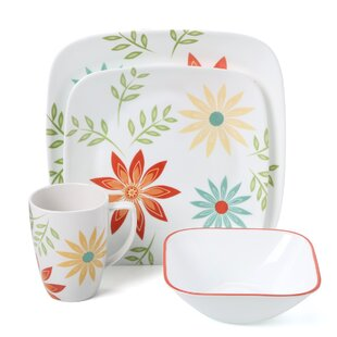 Strong-Willed Kyoto 222 5th 2 Square Dinner Plates White Flower Geometric Green Yellow Red Cups & Saucers Antiques