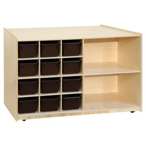 Mobile Storage Double Sided 12 Compartment Cubby With Trays