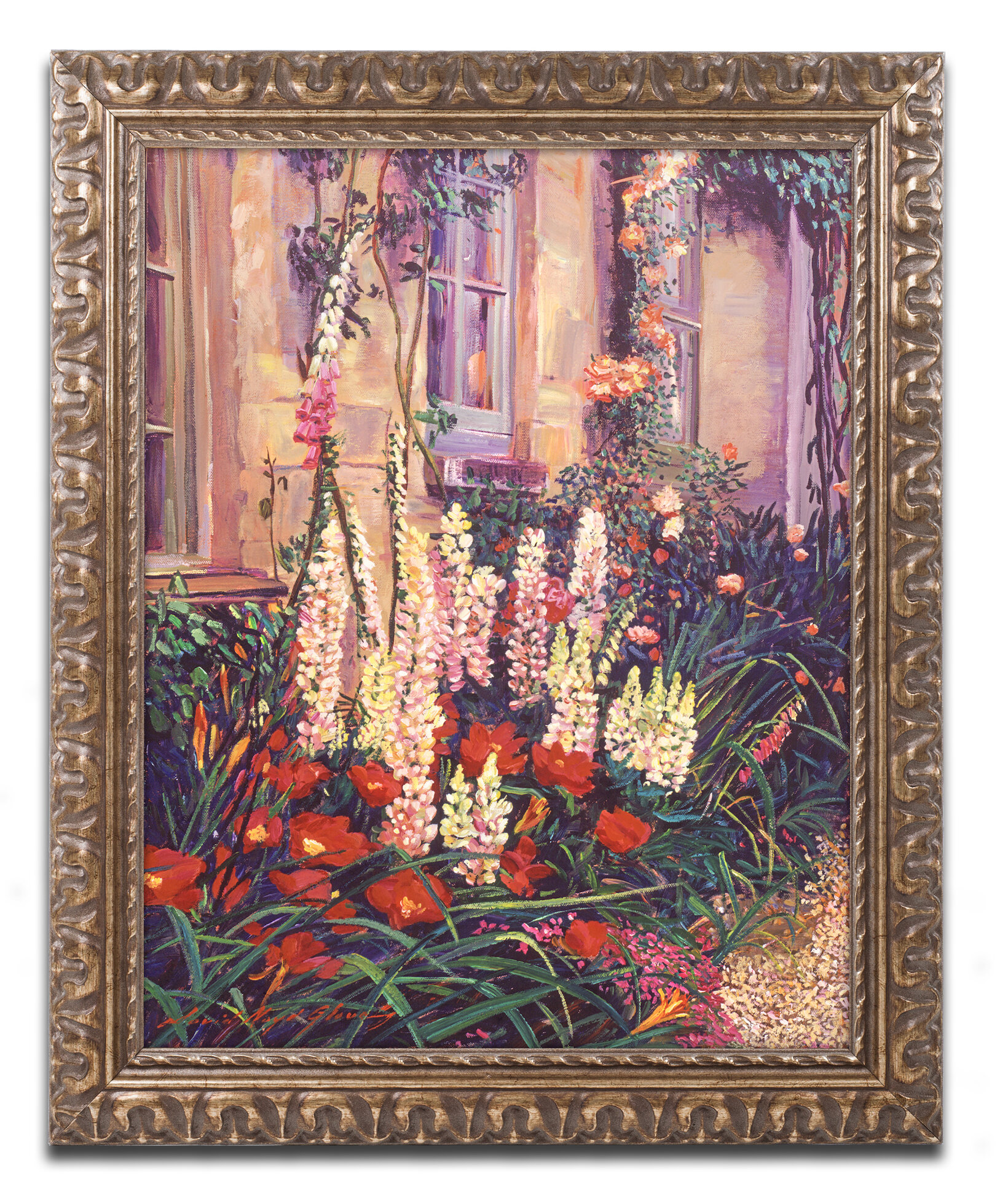 Trademark Art English Cottage Garden By David Lloyd Glover Ornate Framed Painting Print
