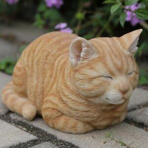 Sleeping Cat Orange Tabby Statue