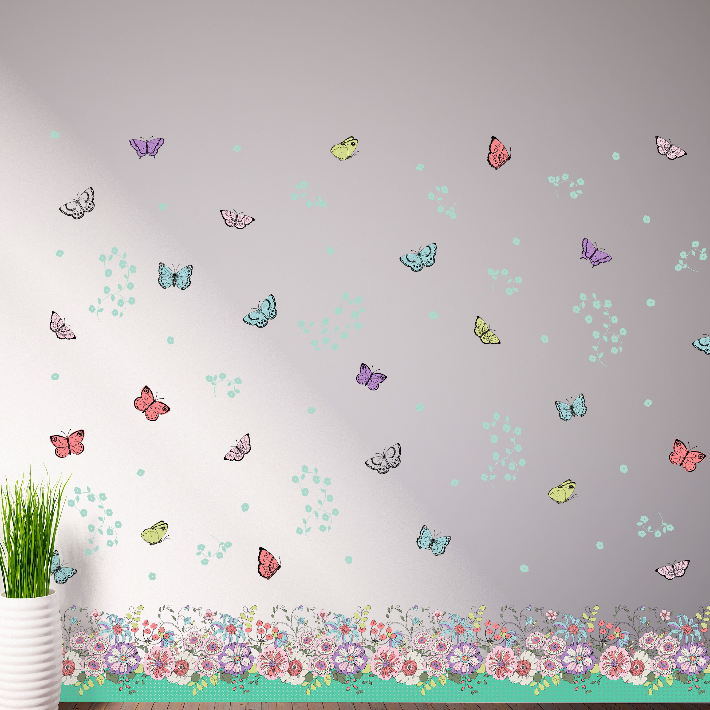 Home Loft Concept Wandtattoo Blumen, Schmetterlinge | Wayfair.de