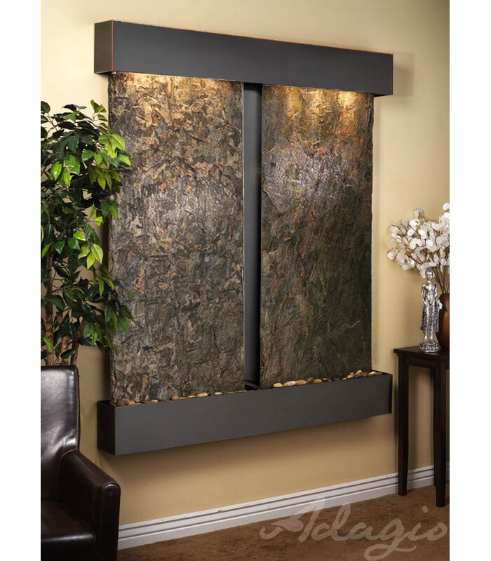 Cottonwood Falls Natural Stone/Metal Wall Fountain with Light Finish: Blackened Copper, Stone: Green Slate