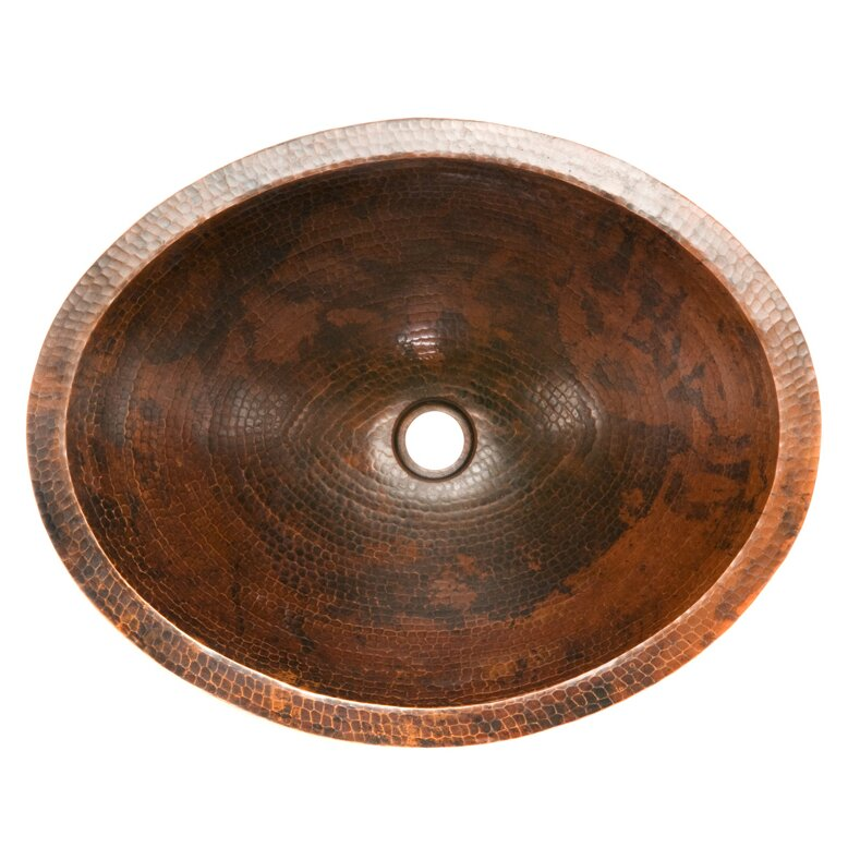Hammered Undermount Bathroom Sink premier copper products master bath hammered copper oval