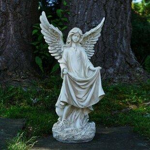 Religious Angel Outdoor Garden Statue With Birdbath Or Feeder