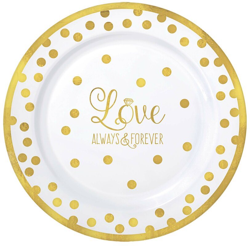 Wedding Premium Plastic Dinner Plate (Set of 20)  sc 1 st  Wayfair : polka dot plastic plates - pezcame.com